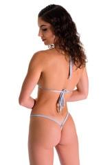 Mini Micro G String Bikini in Liquid Chrome 2