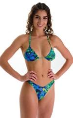 High Cut Brazilian Swim Suit bottom in Tan Through Tahitian Lime-Aqua 1