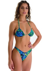 High Cut Brazilian Swim Suit bottom in Tan Through Tahitian Lime-Aqua 3