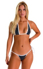 Cheeky Scrunchie Banded Side Tie Bikini Bottom in JackieO Dots with White Binding 1