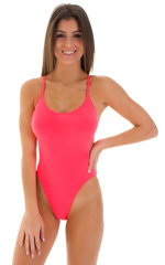 One Piece Swimsuit  Criss Cross Rio in ThinSKINZ Neon Coral 3