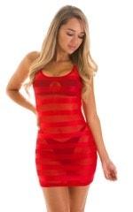 Micro Mini Dress in Red Satin Stripe on Mesh 1
