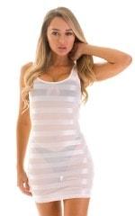 Micro Mini Dress in White Satin Stripe on Mesh 1