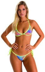 Cheeky Scrunchie Banded Side Tie Bikini Bottom in Jungle Palms Lavender and Chartreuse 1