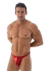 Swimsuit Thong with Pouch Enhancement in Metallic Volcano Red 1