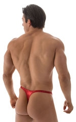 Swimsuit Thong with Pouch Enhancement in Metallic Volcano Red 3