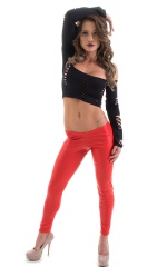 Womens Low Rise Leggings - Fashion Tights in Red Rawhide Leatherlook 4