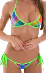 Cheeky Scrunchie Banded Side Tie Bikini Bottom in Sheer Diagonal Plaid & Lime 4