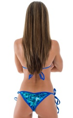 Cheeky Scrunchie Banded Side Tie Bikini Bottom in Liquid Bahamas & Royal Blue 3