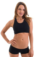 Womens Sport Top in Black Cotton-Lycra 4