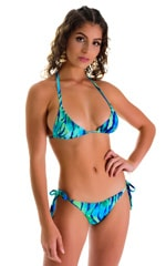 Low Rise Side Tie Brazilian Bikini Bottom in Beach Tiger Blue-Green 3