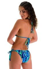 Low Rise Side Tie Brazilian Bikini Bottom in Beach Tiger Blue-Green 2