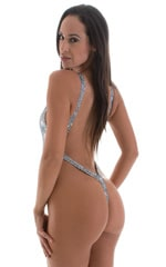 One Piece Thong Swim Suit in Holographic Diamonds 3