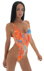 One Piece Thong Bikini in Vapor Wave 1