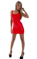 Micro Mini Dress in Wet Look Red 3