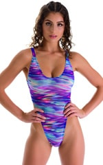One Piece Thong in Semi Sheer Phaser print on mesh 3
