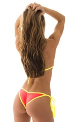 Brazilian Triangle Top in ThinSKINZ Neon Coral and Chartreuse 3