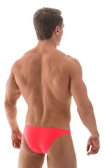 Large Pouch Swimsuit Bikini in Semi Sheer Neon Coral 3