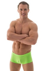 Extreme Low Square Cut Swim Trunks in ThinSKINZ Neon Lime 4