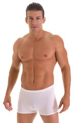 Square Cut Seamless Swim Trunks in Super ThinSKINZ White 4