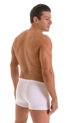 Square Cut Seamless Swim Trunks in Super ThinSKINZ White 3