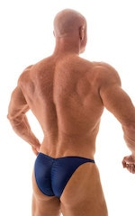 Fitted Pouch - Puckered Back - Posing Suit in Wet Look Navy Blue 5
