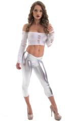 SUPER Low Capri Leggings in Metallic Silver 1