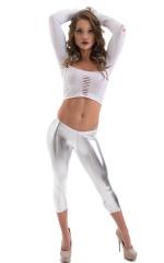 SUPER Low Capri Leggings in Metallic Silver 4