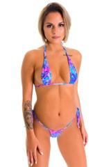 Teardrop Bikini Top in Tahitian Magenta-Aqua 1