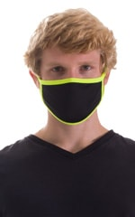 Black-Chartreuse 2-ply face mask 1
