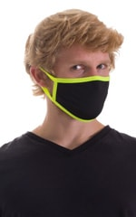 Black-Chartreuse 2-ply face mask 6