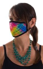 Diagonal Plaid-Black 2-ply face mask 3