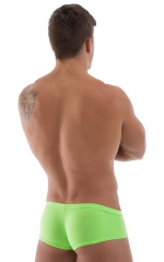 Pouch Enhanced Micro Square Cut Swim Trunks in Semi Sheer Neon Pink Lime 3