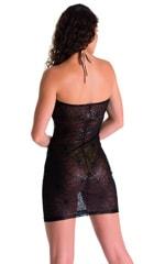 Mini Strapless Bodycon Dress in Black Spiderweb Mesh 2