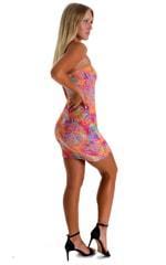 Mini Strapless Bodycon Dress in Jungle Palms Orange 6