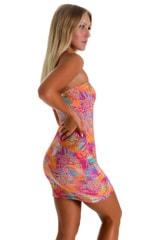 Mini Strapless Bodycon Dress in Jungle Palms Orange 2