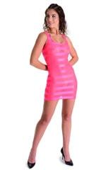 Mini Dress in Fuschia Satin Stripe 3