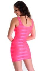 Mini Dress in Fuschia Satin Stripe 2