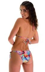 Low Rise Side Tie Brazilian Bikini Bottom in Tan Through Retro Tie Dye 3