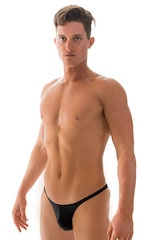 Fitted Pouch Puckered Back Bikini Swimsuit in Wet Look Black 1