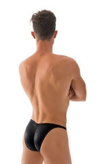 Fitted Pouch Puckered Back Bikini Swimsuit in Wet Look Black 3