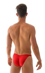 Fitted Pouch Puckered Back Bikini Swimsuit in Wet Look Lipstick Red 3