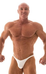 Fitted Pouch - Puckered Back - Posing Suit in Optic White 1