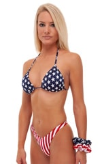 Classic Triangle Swimsuit Top in Stars on Navy Blue 5