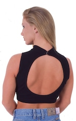 Key Hole Sport Fashion Top in Black Cotton Lycra 3