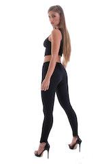 Womens Low Rise Leggings - Fashion Tights in Black Lycra 3
