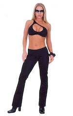 Hiphugger Boot Cut Pants in Black nylon/lycra 1