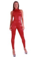 Catsuit-Bodysuit-Keyhole-Halter-Tank in Wet Look Red 1