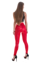 Womens Leggings - Fashion Tights in Wet Look Lipstick Red 3