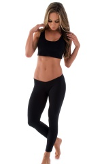 Womens Super Low Rise Fitness Leggings in Black Cotton Lycra 4